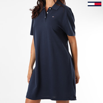 Tommy Jeans - Robe Polo Femme Manches Courtes Branded Collar 8452 Bleu Marine