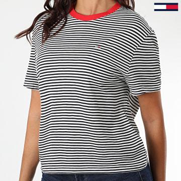 Tommy Hilfiger - Tee Shirt Femme Texture Feel 8532 Blanc Bleu Marine