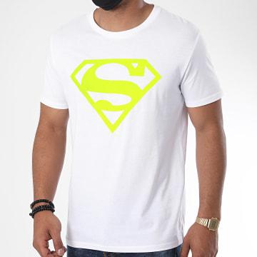 DC Comics - Tee Shirt Neon Logo Blanc Jaune Fluo