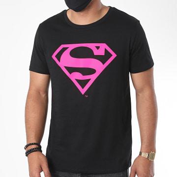 DC Comics - Tee Shirt Neon Logo Noir Rose Fluo