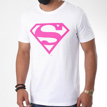 DC Comics - Tee Shirt Neon Logo Blanc Rose Fluo