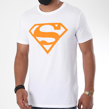 DC Comics - Tee Shirt Neon Logo Blanc Orange Fluo