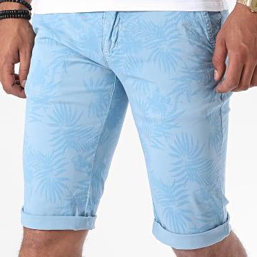 Paname Brothers - Short Chino Floral Bando Bleu