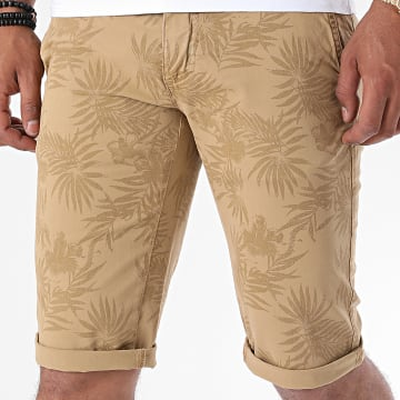 Paname Brothers - Short Chino Floral Bando Beige Foncé