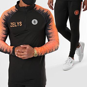 Zelys Paris - Ensemble De Survetement A Bandes Ney Noir Orange Fluo