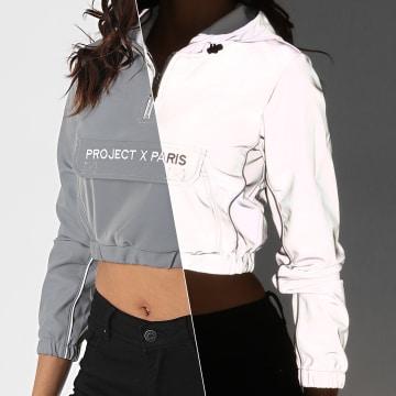 Project X - Sweat Capuche Crop Femme F202071 Gris Réfléchissant