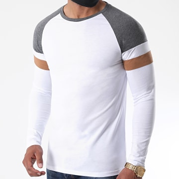 LBO - Tee Shirt Manches Longues Raglan Tricolore 1223 Anthracite Blanc Camel