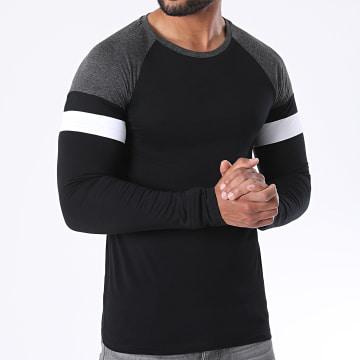LBO - Tee Shirt Manches Longues Raglan Tricolore 1225 Gris Anthracite Noir Blanc