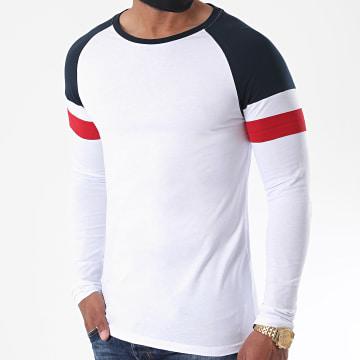 LBO - Tee Shirt Manches Longues Raglan Tricolore 1227 Bleu Marine Rouge Blanc