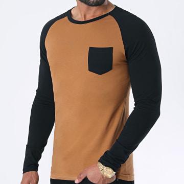 LBO - Tee Shirt Manches Longues Raglan 1197 Noir Camel