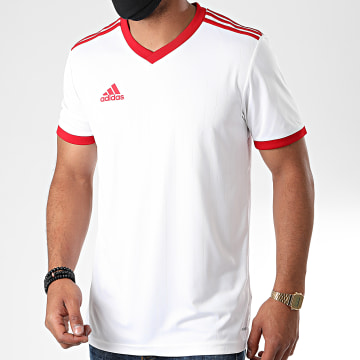 Adidas Performance - Tee Shirt Col V A Bandes Tabela 18 CE1717 Blanc Rouge