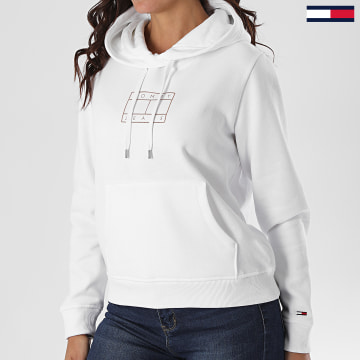 Tommy Jeans - Sweat Capuche Femme Essential Logo 8555 Blanc