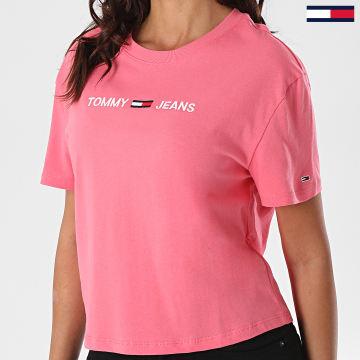 Tommy Jeans - Tee Shirt Femme Modern Linear Logo 8615 Rose