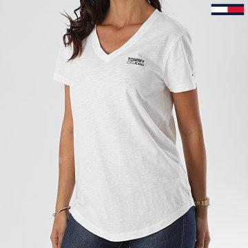 Tommy Jeans - Tee Shirt Col V Femme Logo Slub 8669 Blanc