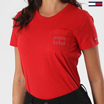 Tommy Jeans - Tee Shirt Poche Femme Logo Pocket 8816 Rouge