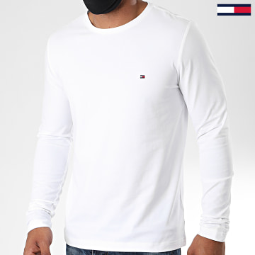 Tommy Hilfiger - Tee Shirt Manches Longues Stretch Fit Slim 0804 Blanc