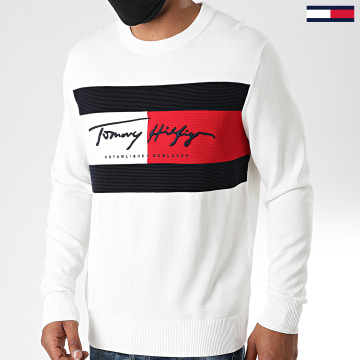 Tommy Hilfiger - Pull Tricolore Autograph Flag 4424 Blanc