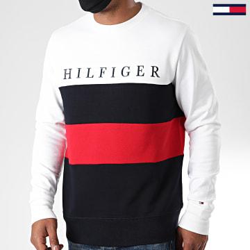 Tommy Hilfiger - Sweat Crewneck Tricolore Striped Color Block 4448 Blanc Bleu Marine Rouge
