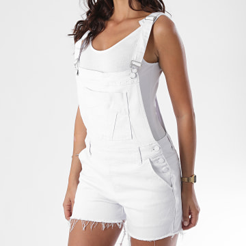 Girls Only - Salopette Short Jean Femme R-593 Blanc