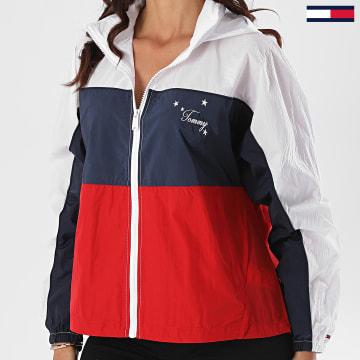 Tommy Jeans - Veste Zippée Capuche Femme Colorblock 8585 Blanc Bleu Marine Rouge