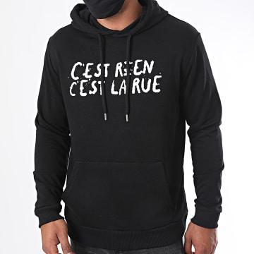 C'est Rien C'est La Rue - Sweat Capuche Logo 2 Noir Blanc