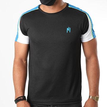 NI by Ninho - Tee Shirt A Bandes Wave Noir Bleu