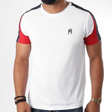 NI by Ninho - Tee Shirt A Bandes Wave Blanc Rouge Bleu Marine