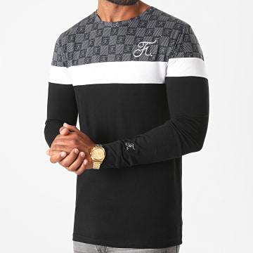 Final Club - Tee Shirt Manches Longues Damier Tricolore Avec Broderie 465 Noir Gris Blanc
