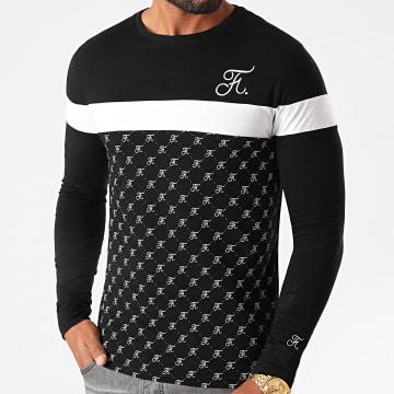 Final Club - Tee Shirt Manches Longues Allover Tricolore Avec Broderie 467 Blanc Noir