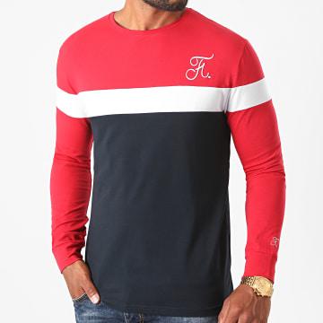 Final Club - Tee Shirt Manches Longues Tricolore Avec Broderie 469 Bleu Marine Rouge Blanc