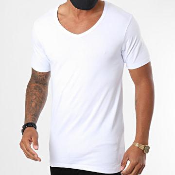 Jack And Jones - Tee Shirt Col V Basic Blanc