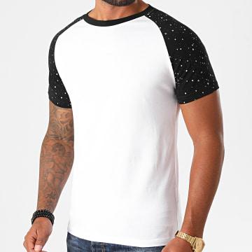 LBO - Tee Shirt Raglan Speckle 1221 Noir Blanc