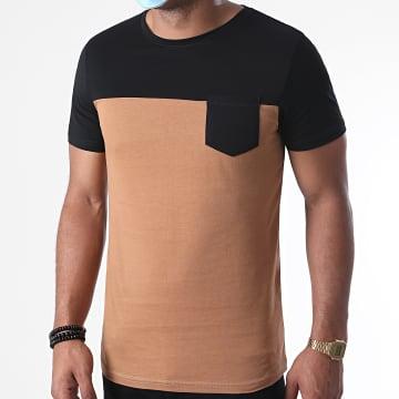 LBO - Tee Shirt Poche 1232 Camel Noir