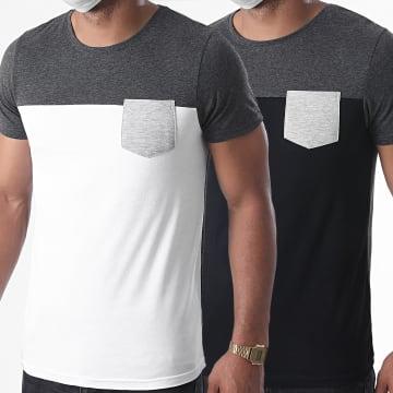 LBO - Lot Tee Shirts Poche 1246 Gris Noir Blanc