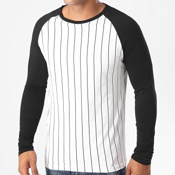 LBO - Tee Shirt Manches Longues A Rayures 1249 Blanc Noir