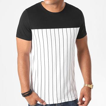 LBO - Tee Shirt Bicolore A Rayures 1250 Blanc Noir