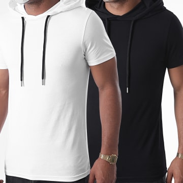 LBO - Lot Tee Shirts Capuches Unis 1316 Noir Blanc