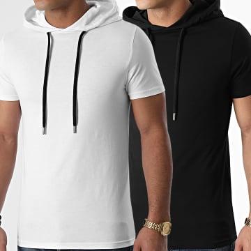 LBO - Lot Tee Shirts Capuches Unis 1316 Noir Blanc