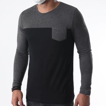 LBO - Tee Shirt Manches Longues Avec Poche 1235 Anthracite Chiné Noir