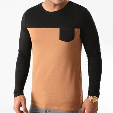 LBO - Tee Shirt Manches Longues Avec Poche 1236 Noir Camel