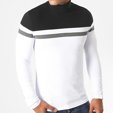 LBO - Tee Shirt Manches Longues Col Roulé 1255 Blanc Noir