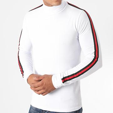 LBO - Tee Shirt Manches Longues Col Roulé A Bandes 1259 Blanc