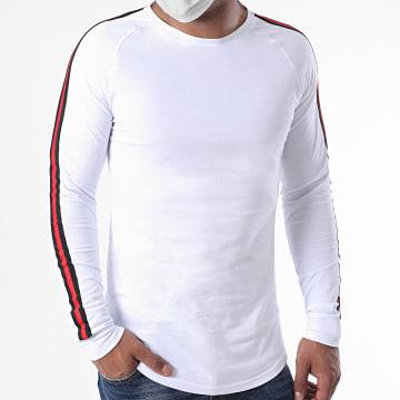 LBO - Tee Shirt Manches Longues Oversize Avec Bandes 1260 Blanc