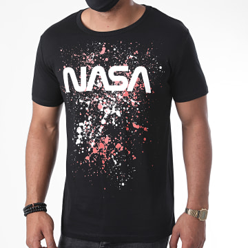 NASA - Tee Shirt Worm Splatter Noir Orange