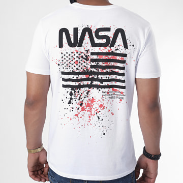 NASA - Tee Shirt Worm USA Splatter Blanc