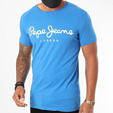 Pepe Jeans - Tee Shirt Original Stretch PM501594 Bleu Azur
