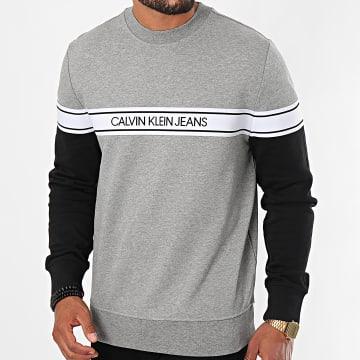 Calvin Klein - Sweat Crewneck Logo Tape 5710 Gris Chiné