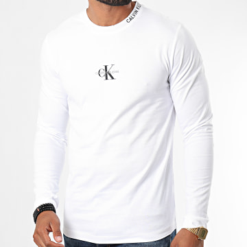 Calvin Klein - Tee Shirt Manches Longues Center Monogram 6812 Blanc