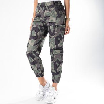 Girls Only - Pantalon Jogging Femme N616 Vert Kaki Camouflage