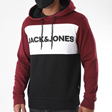 Jack And Jones - Sweat Capuche Tricolore Logo Blocking Bordeaux Blanc Noir